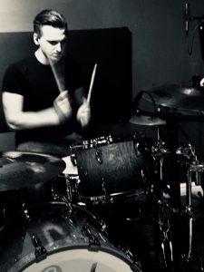 Jake on drums at Big Sky Studio drumming for Sonar Artist Cary L